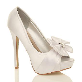 Ajvani женские свадебные вечерние для новобрачных высокой пятки платформы выпускной Диаманте заглянуть ног суд обувь сандалии