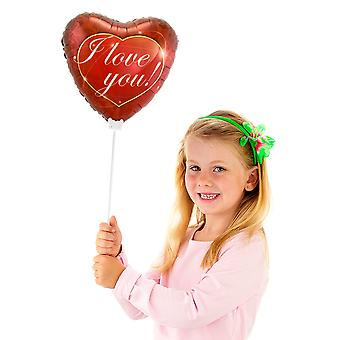 Rod heart foil balloon I love You approximately 23 cm
