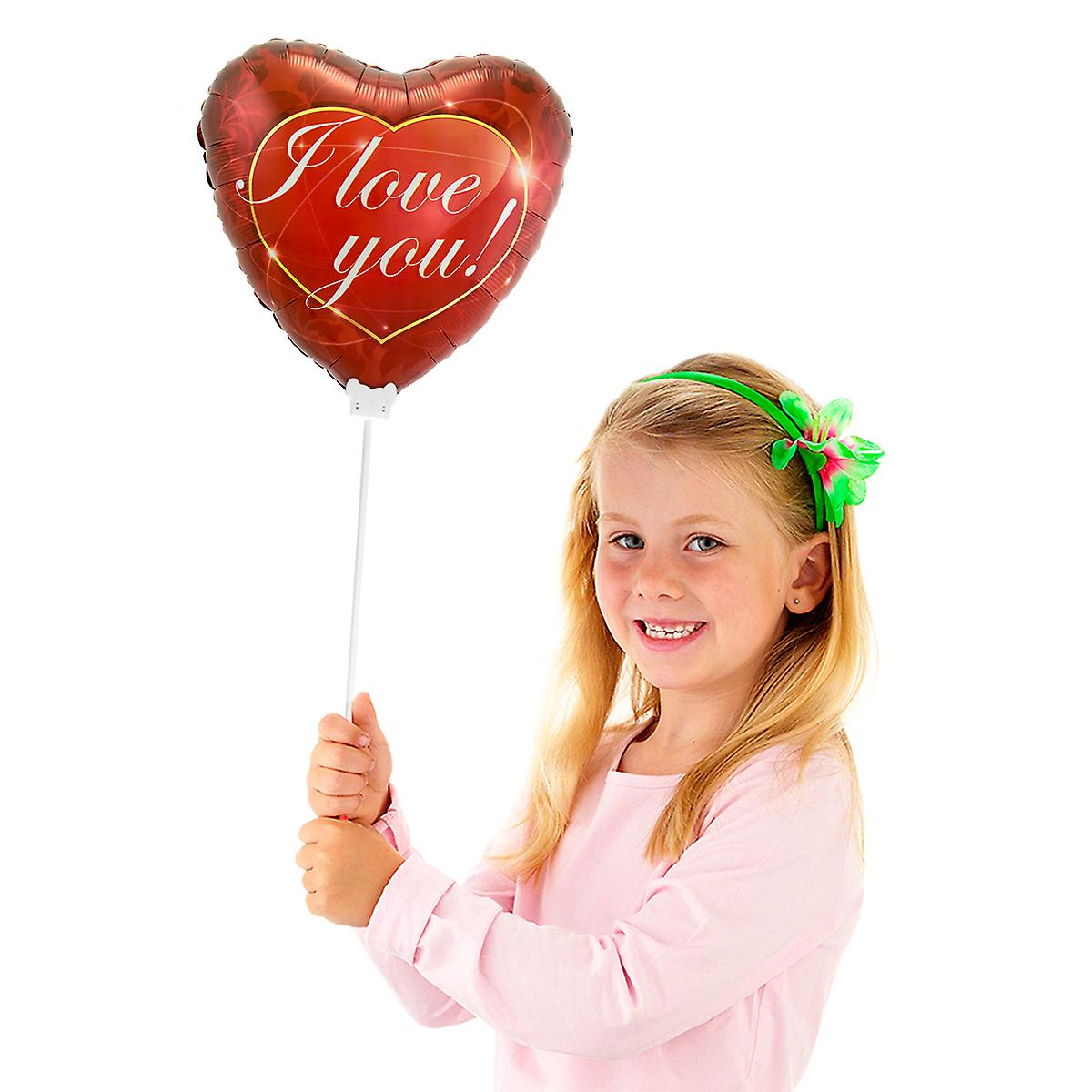 Folienballon mit Stab Herz I love You circa 23cm