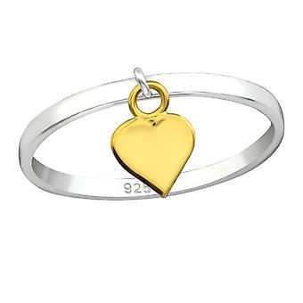 Bague argent avec Hanging Heart - 925 Sterling Silver plaine anneaux - W33831x
