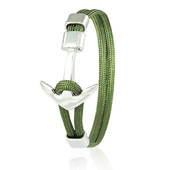 Skipper Anker Armband 21 cm Nylon Armschmuck in Oliv mit Silbernem Anker 6955