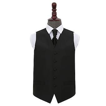 Black Solid Check Wedding Waistcoat & Cravat Set