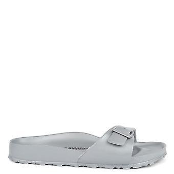 Birkenstock Madrid Metallic Silver Rubber Thong Sandal