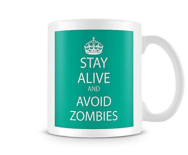 Ruhe bewahren und zur Vermeidung von Zombies bedruckte Becher
