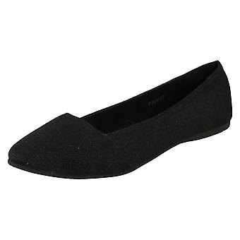 Ladies posto sul piatto Pointed Toe Slip On F80033 Ballerina