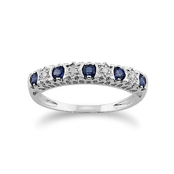 9ct White Gold 0.28ct Natural Sapphire & 2pt Diamond Half Eternity Band Ring