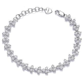 Cavendish French Double Cubic Zirconia Row Bracelet - Silver