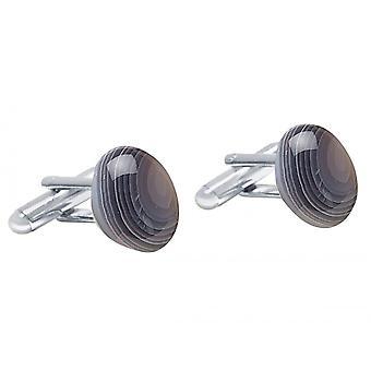 Gemshine - cufflinks - 925 Silver - agate - grey - 18 mm