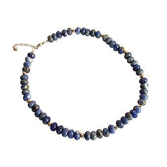 Gemshine - ladies - necklace - gold plated - lapis lazuli - 45 cm - Blue - faceted