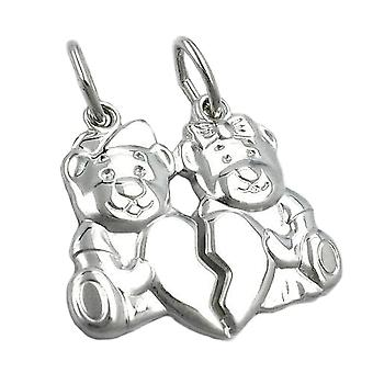 Trailer, 2 bear with heart, Silver 925