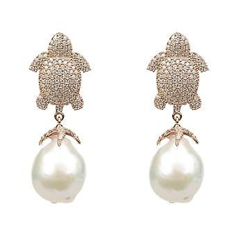 White Turtle Baroque Drop Earring rosegold