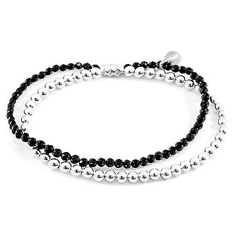Black Spinel Harmony Silver and Stone Bracelet