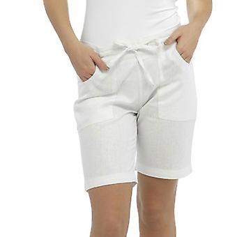 Womens Tom Franks Elasticated Rib Back Linen Style Summer Beach Holiday Shorts