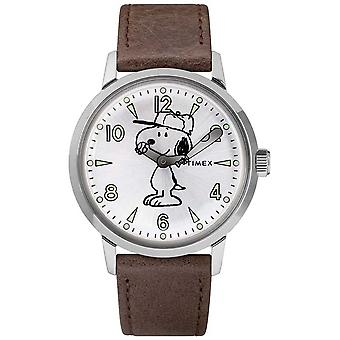 Timex Snoopy Welton Silver Dial Brown Leather Strap TW2R94900 Watch