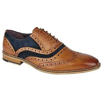 Mens Leather Lace Up 5 Eyelet Brogues Oxford Formal Dress Shoes