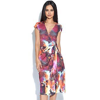 Abstrakt Leopard rosa oransje og grå Wrap kjole