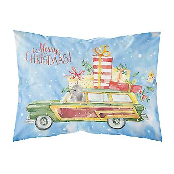 Merry Christmas Silver Poodle Fabric Standard Pillowcase