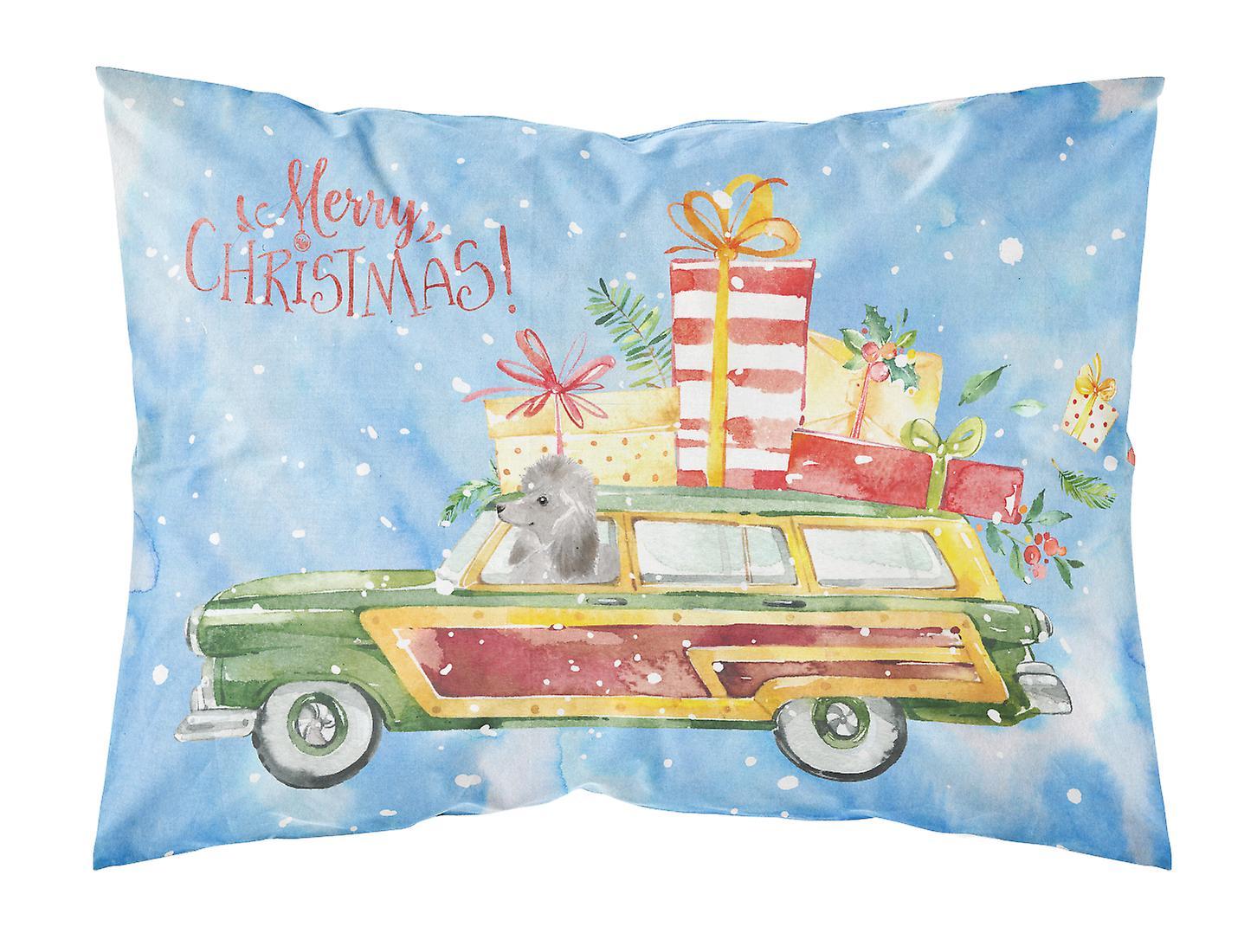 Argent Tissu Standard Noël D'oreiller De Joyeux Caniche Taie wkX8Pn0O