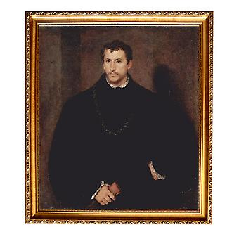 Met frame portret van een Gentleman, Titiaan, 61x51cm