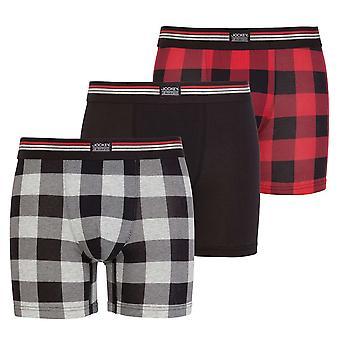 Jockey Cotton Stretch 3-Pack Boxer Trunk, Hawaiian Red Check / Black / Grey Check, Medium