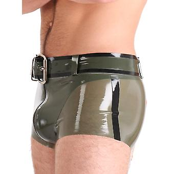 Honour Men's Military-Style Belt Olive Green Silver Buckle Rubber