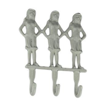 White Cast Iron 3 Standing Women Wall Hook Rack