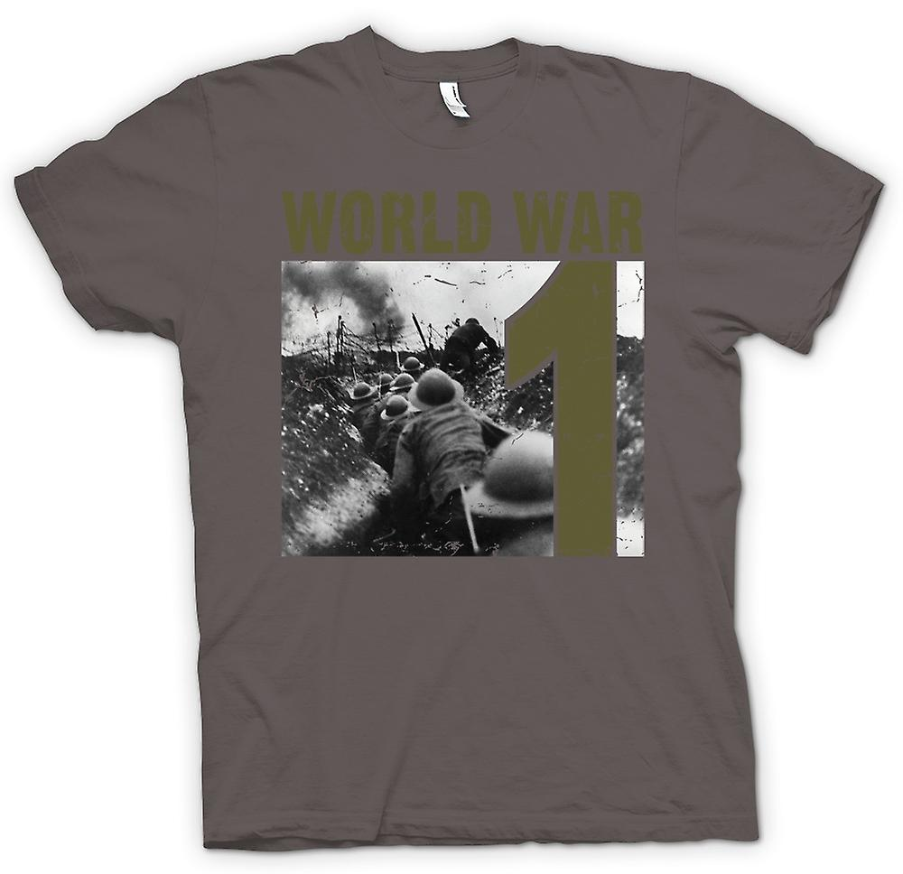 Womens T-shirt - World War 1 - Trenches And Machine Guns