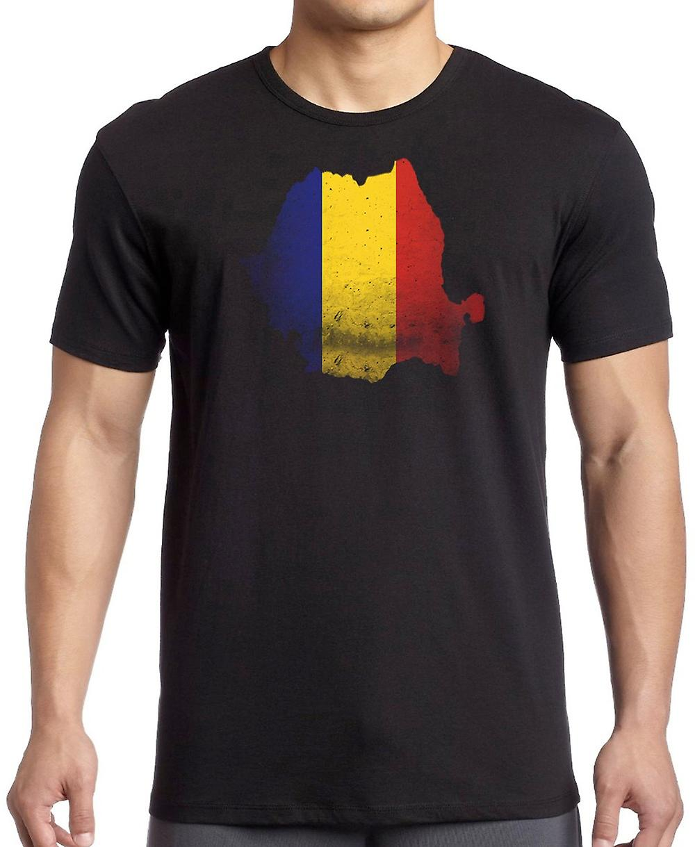 Romania Flag Map T Shirt  - 5xl