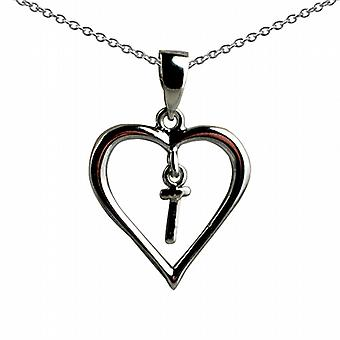 Silver 18x18mm initial T in a heart Pendant with a rolo Chain 18 inches
