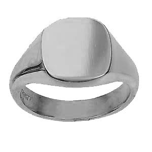 18ct white gold gents plain cushion signet ring 14x13mm