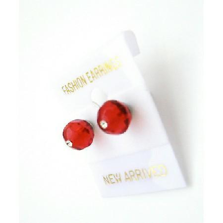 Girls Crystals Stud Earrings Affordable Price Lite Siam Red Earrings