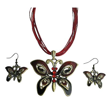 Ethnic Party Siam Rhinestones Red Butterefly Pendant Necklace Set