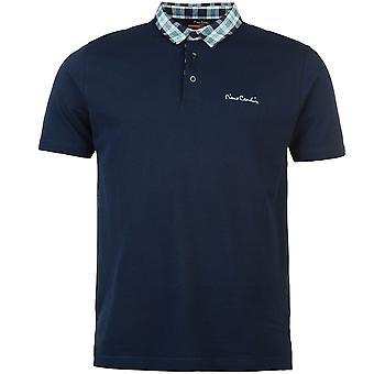 Pierre Cardin Mens Check in alto colletto Polo camicia manica corta