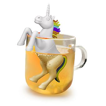 Yksisarvinen valkoista teetä valmistetaan 100 % silikoni, koukku osaksi lasi tai kuppi lahjapakkauksessa.