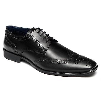 Mens Leather Formal Shoes Lace Up Brogues Office Smart Dress Work