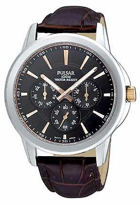 Pulsar Mens Stainless Steel Black Dial Brown Croc-Pattern Strap PP6019X1 Watch