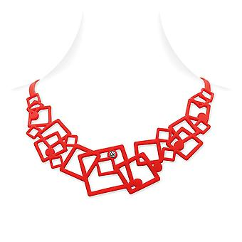 Geometric necklace in Silicone red tattoo effect