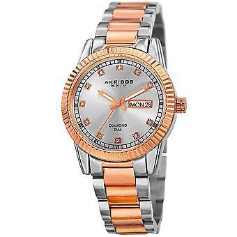 Akribos XXIV Women's Quartz Diamond Bracelet Watch AK965TTR