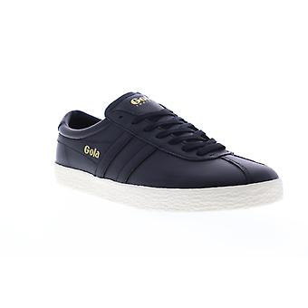 Gola Trainer  Mens Black Leather Retro Lace Up Low Top Sneakers Shoes