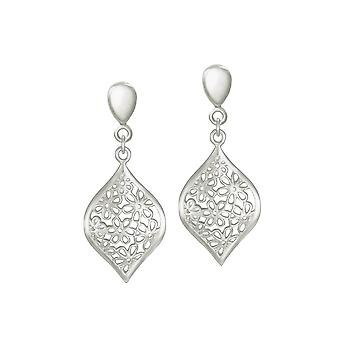 Eternal Collection Aster Silver Floral Drop Clip On Earrings
