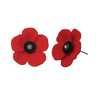 Eternal Collection Poppy Red And Black Enamel Silver Tone Midi Pierced Stud Earrings
