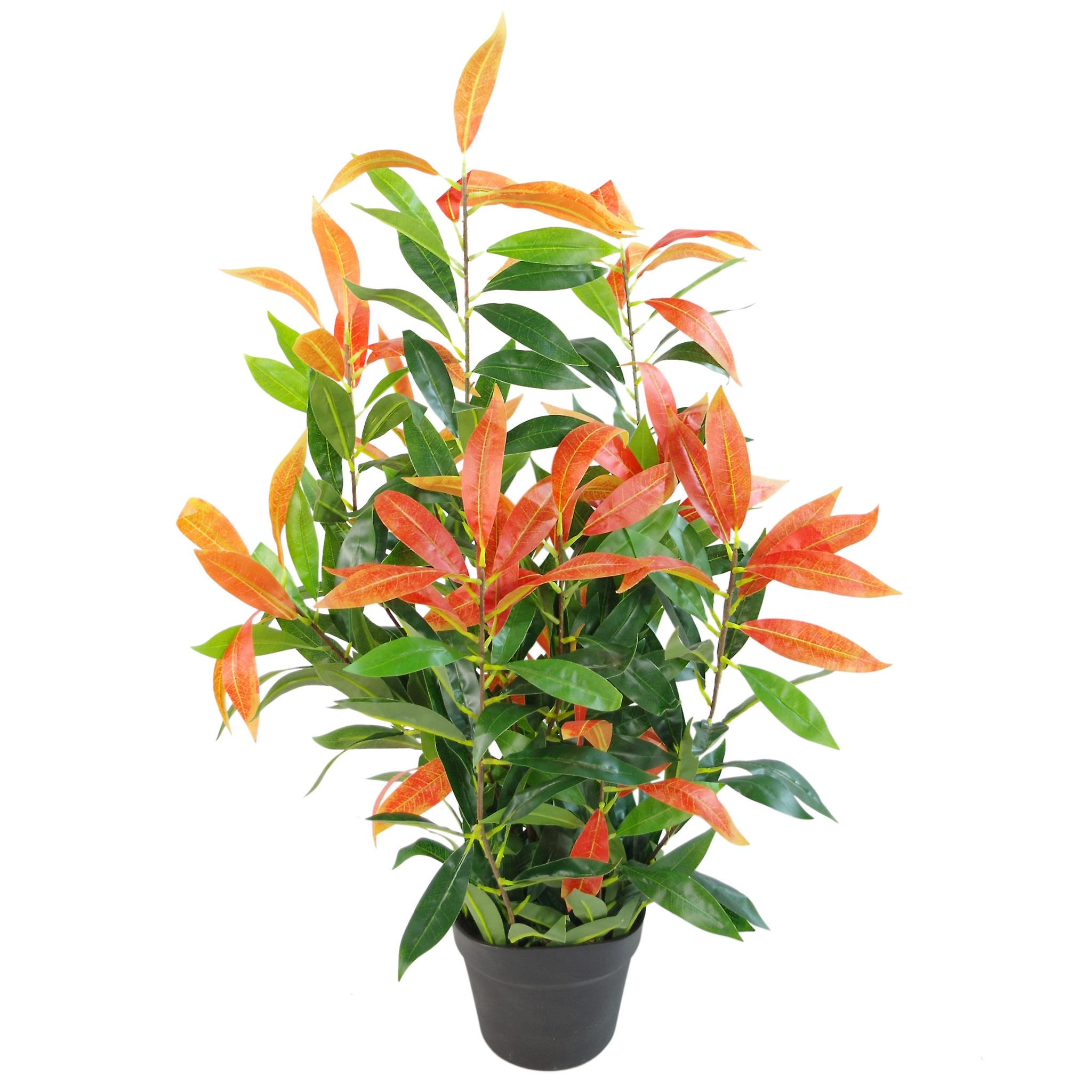 80cm Artificial Red and Green Ficus Plant