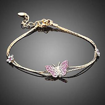 18K Gold Plated Stellux Austrian Crystals Butterfly Charm Bracelet, 15cm