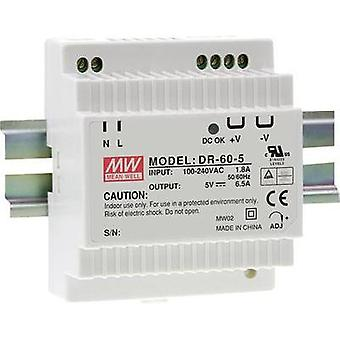 Rail mounted PSU (DIN) Mean Well DR-60-5 5 Vdc 6.5 A 32 W 1 x