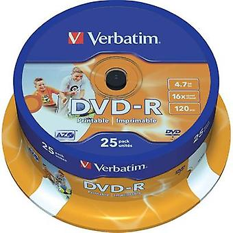 Blank DVD-R 4.7 GB Verbatim 43538 25 pc(s) Spindle Printable