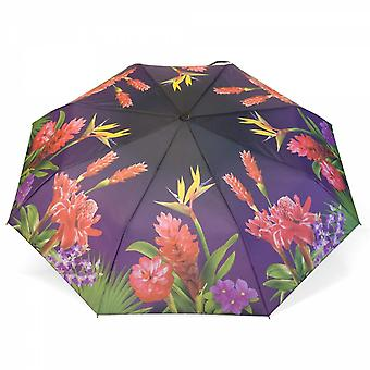 Umbrella automatic Pocket umbrella motif exotic flowers