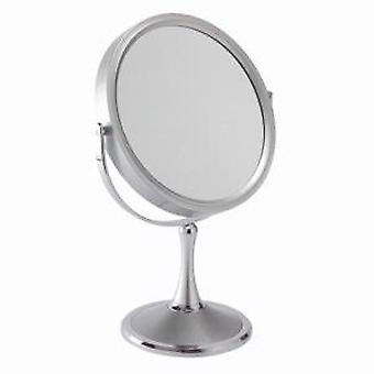 10x Magnification Pedestal Mirror in Silver Large Size