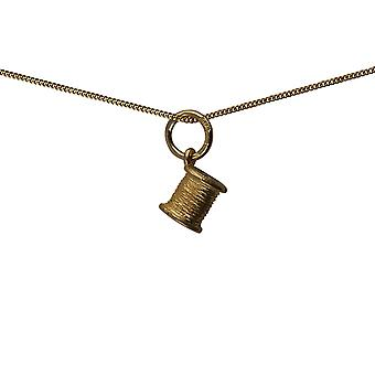 9ct Gold 6x7mm seamstress's Cotton Reel Pendant with a curb Chain 16 inches Only Suitable for Children