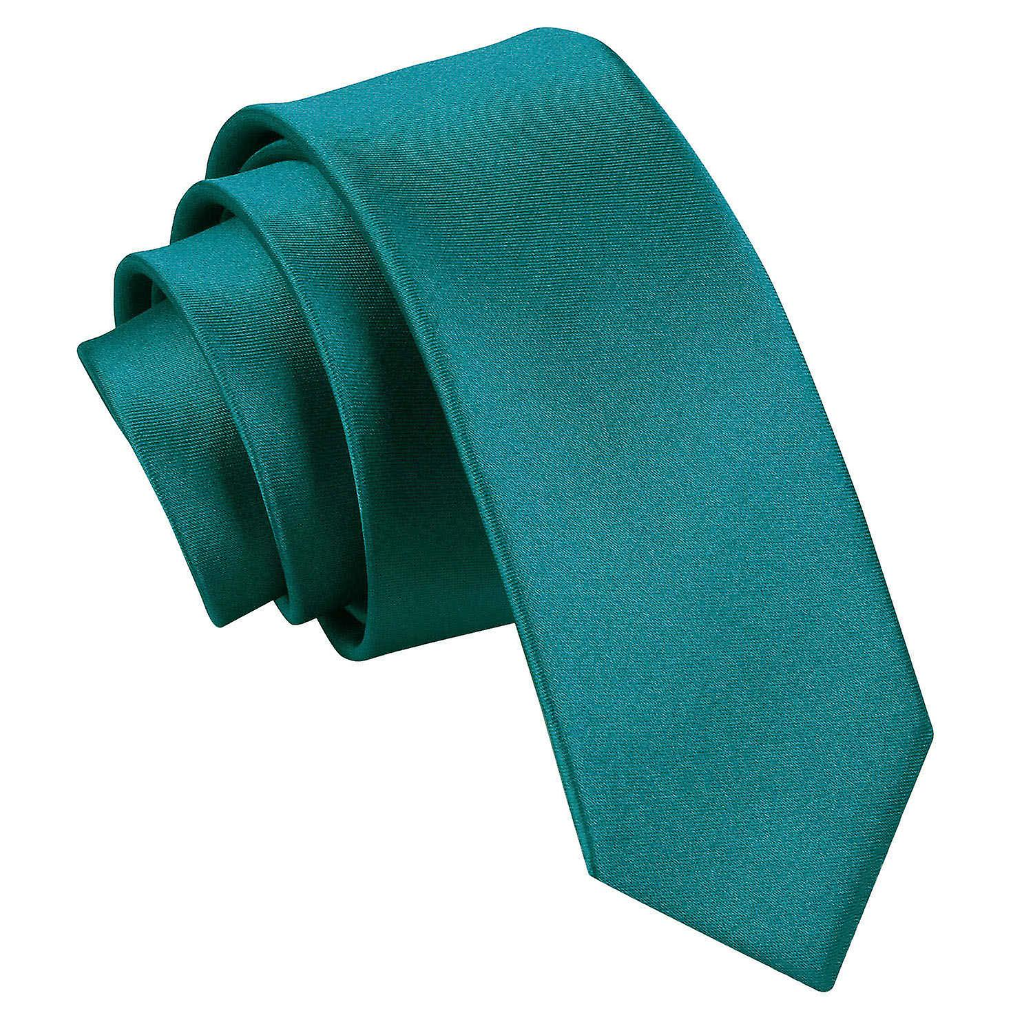 Plain Teal Satin Skinny Tie