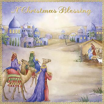 Pack of 12 Religious Blessings Charity Christmas Cards with Gold Foil - Nativity